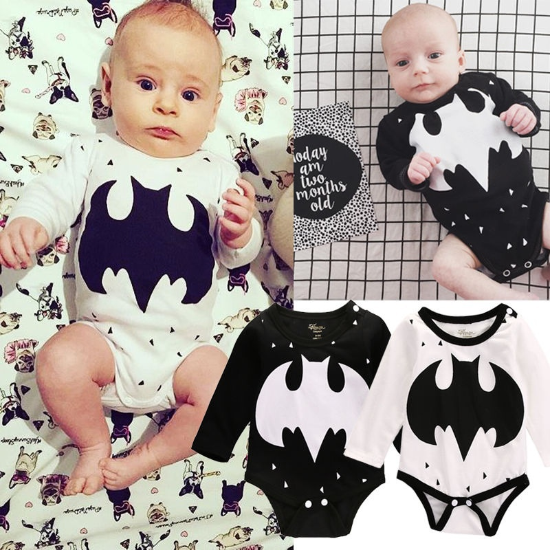 Toddler Newborn Baby Girl Boy Batman Print Cotton Rompers Jumpsuit Clothes 0-18M