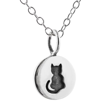 Sterling Silver Tiny Etched Kitty Cat Tag Charm Pendant Necklace, 18""
