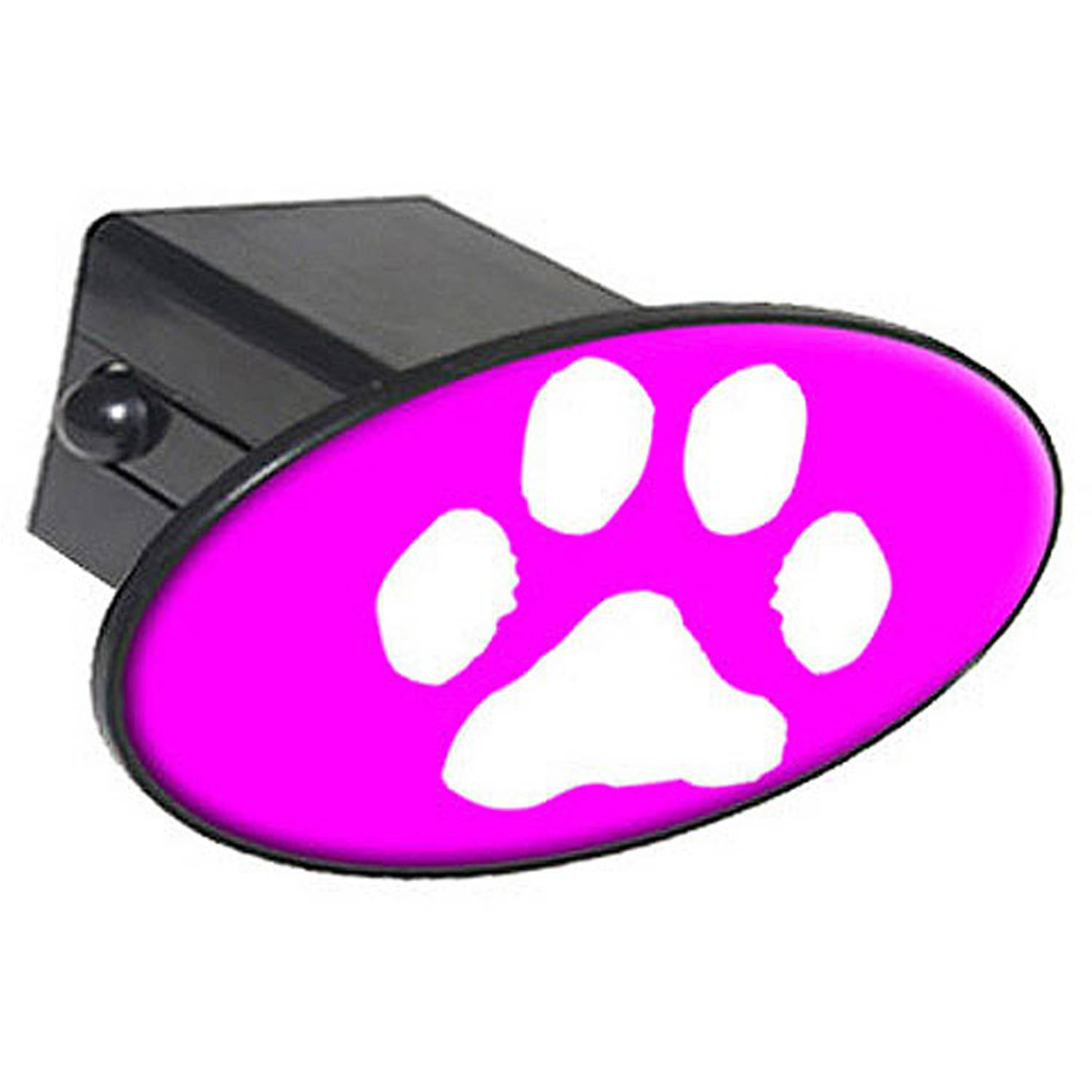"""Paw Print White On Hot Pink 2"""" Oval Tow Trailer Hitch Cover Plug Insert"""