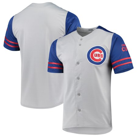 Chicago Cubs Stitches Button-Up Jersey - Gray/Royal