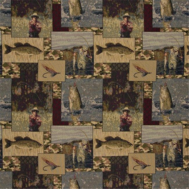 Designer Fabrics A025 54 in. Wide , Fishermen, Lures, Fly Fishing, Water, Camouflage, Themed Tapestry Upholstery Fabric