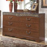 Ashley Furniture Fairbrooks Estates 6 Drawer Double Dresser in Brown