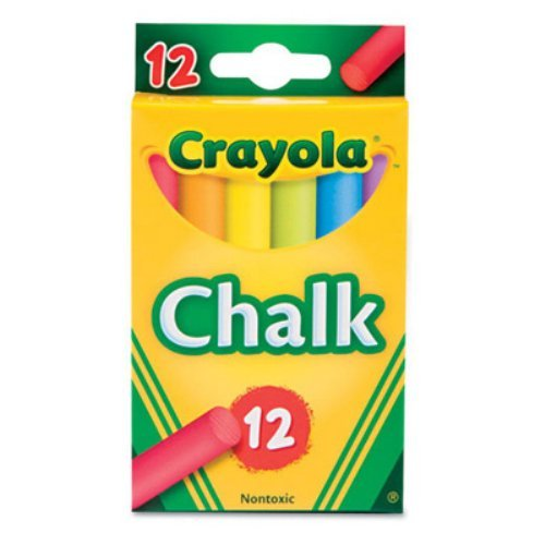 "Crayola Colored Chalk - 3.3"" Length - 0.4"" Diameter - Assorted - 12 / Box"