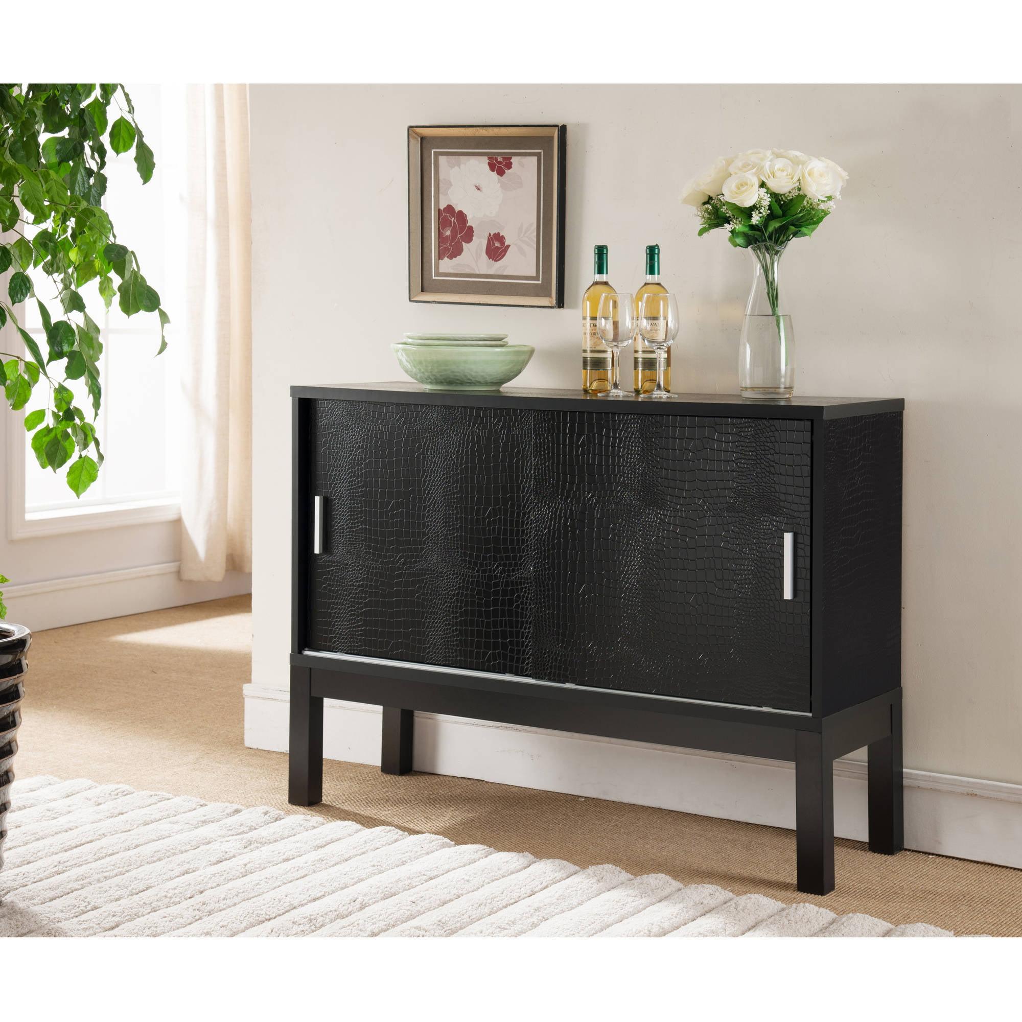 Furniture of America Sereman Contemporary Crocodile Buffet, Black by Furniture of America
