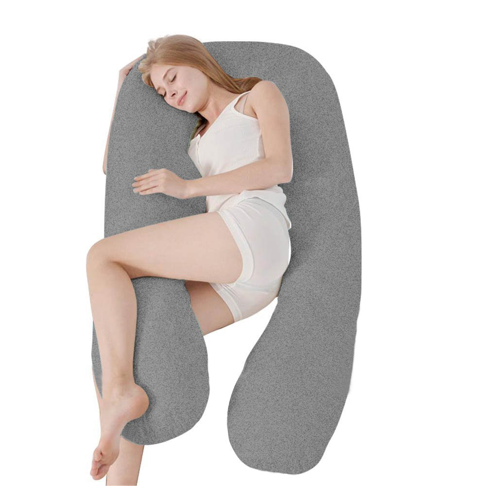 Angel Unique U Shaped Pregnancy Pillow - Body Pillow Cushion for Side Sleeping and Maternity Woman - Nursing Pillow for Baby - Super Size - Jersey Double Zipper Removable Cover (Gray)