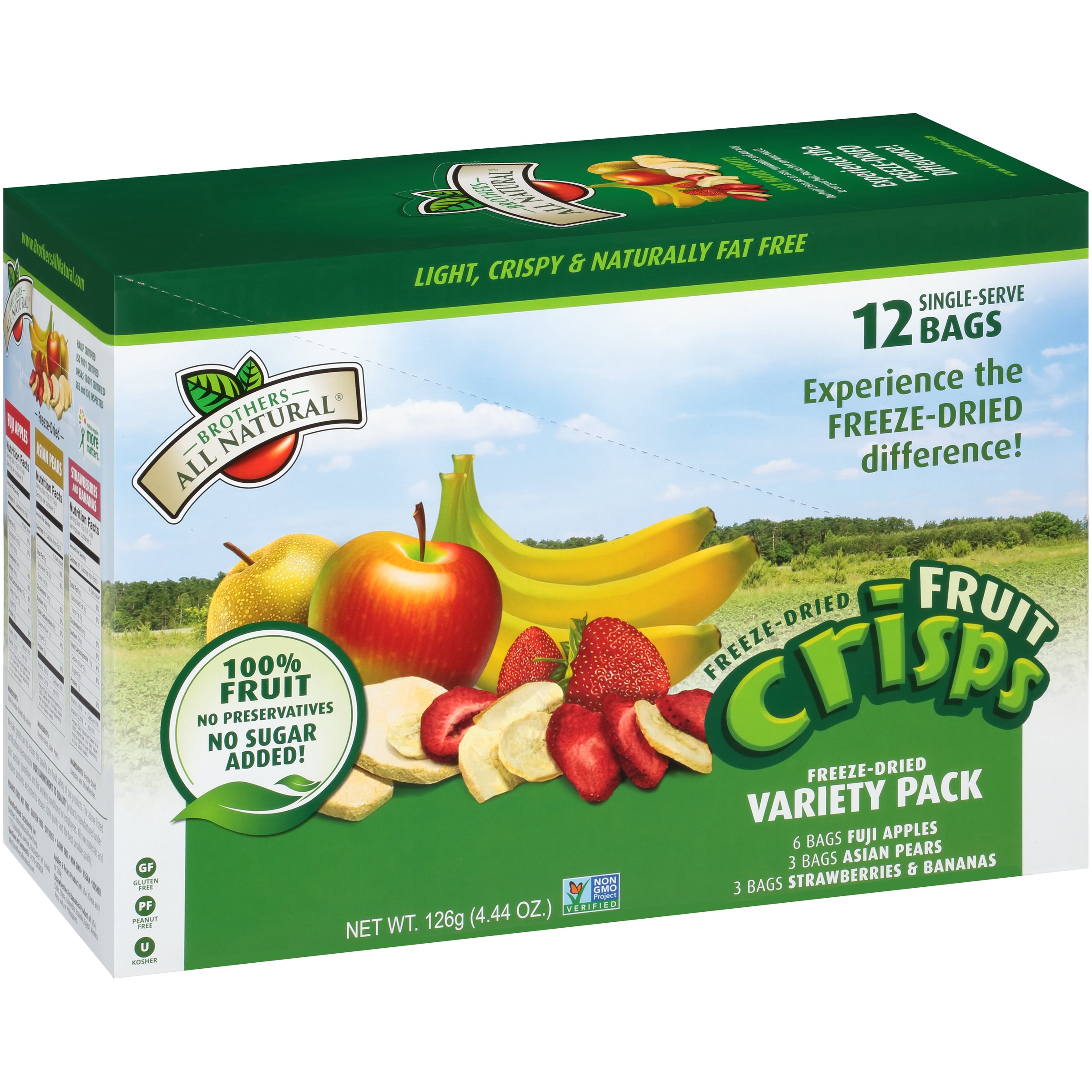 Brothers All Natural Freeze-Dried Fruit Crisps, Variety Pack, 4.44 Oz, 12 Ct by Brothers International Food Corp.