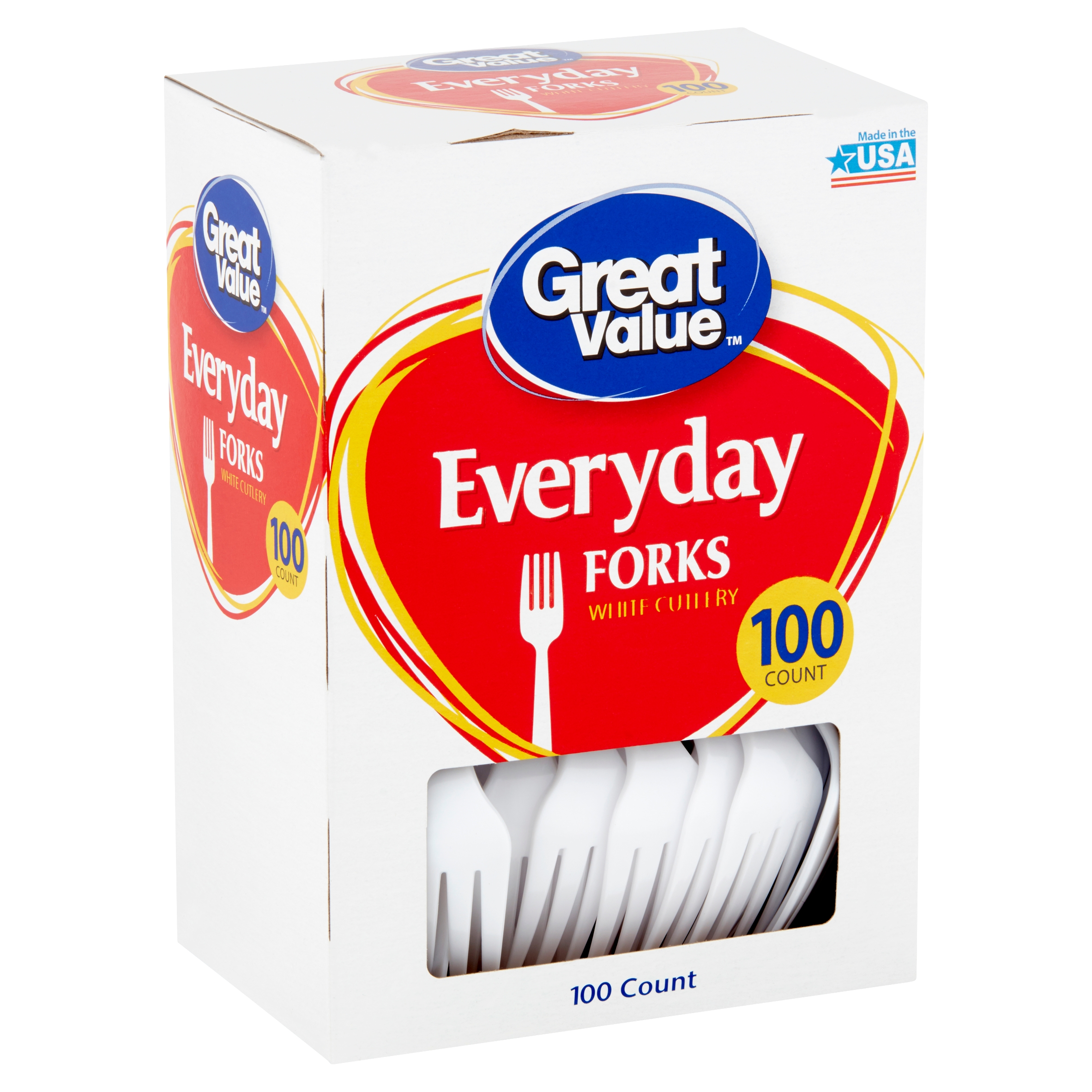 Great Value Everyday White Cutlery Forks, 100 count