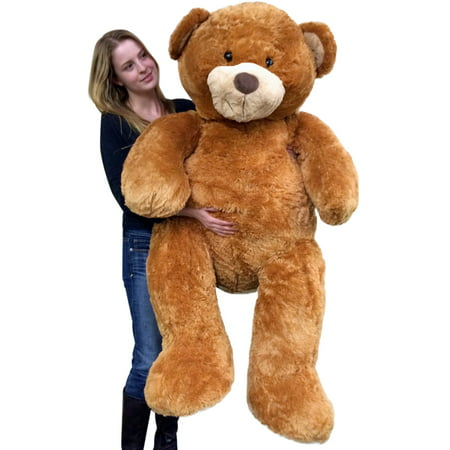Flannel Newborn Teddy Bears - Giant 5 Foot Teddy Bear Big Soft 60 Inch Plush Animal Honey Brown Color