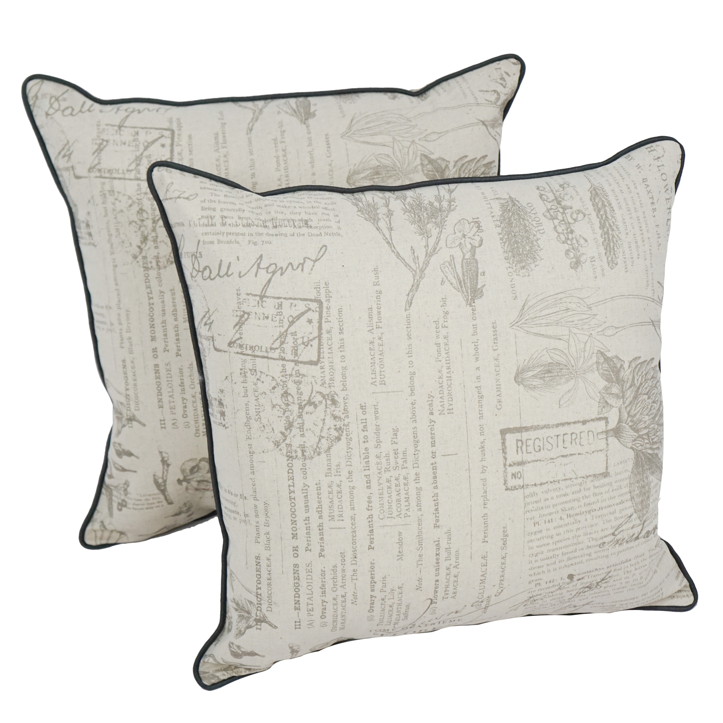 18-inch Corded Throw Pillows with Inserts (Set of 2) - Journal Botanica