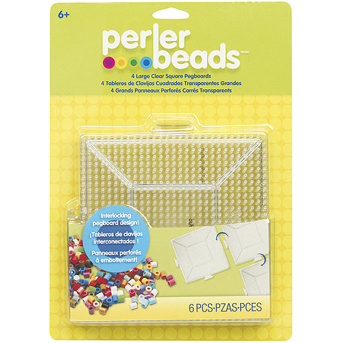 Perler Fun Fusion Bead Pegboards, 4-Pack, Clear Square