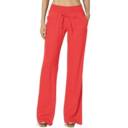 TheMogan Women's S~3X Drawstring Elastic Waist Mid Rise Linen Straight Long Pants