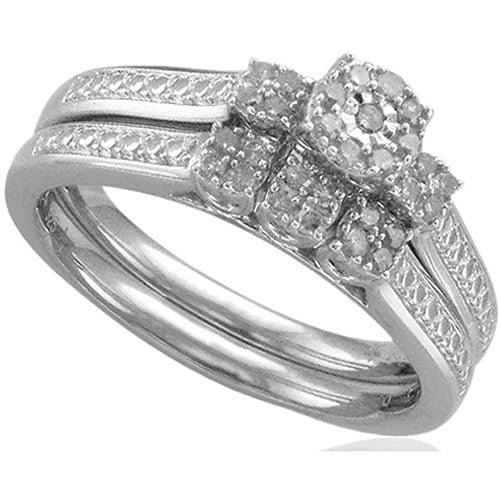 Forever Bride 1/5 Carat T.W. Three-Stone Diamond Sterling Silver Bridal Set