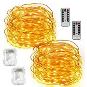 Kohree 2 Set Fairy String Lights Battery Operated Waterproof Timer Remote Control 100 LED String Lights 33FT