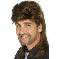 """26"""" Brown 1980's Style Decades Mullet Men Adult Halloween Wig Costume Accessory - One Size"""