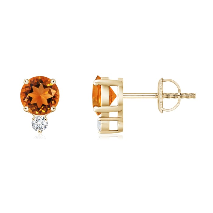 Angara Round Citrine Stud Earrings in Platinum y01eIcenif