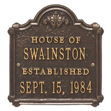 Personalized Whitehall Products Chatham Wedding/Anniversary Plaque with Bronze/Gold Finish