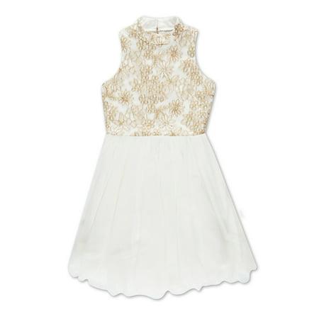 Embroidered Tulle Dress (Embroidered Metallic Mock Neck Tulle Hem Occasion Dress (Big Girls) )