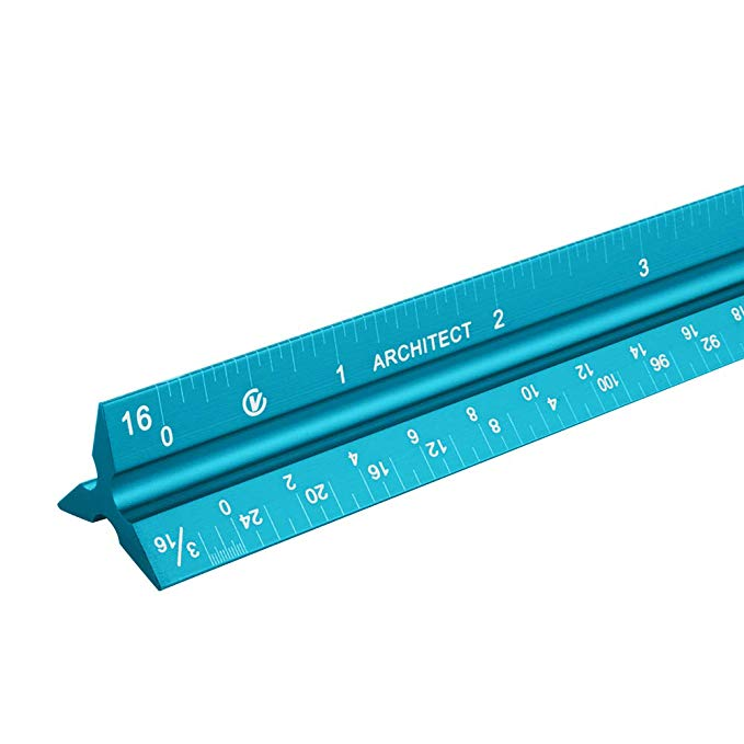 "VISEMAN Architectural Scale Ruler, 12"" Architect Scales, Aluminum Engineer's Scale,Grooved Ruler for Student,Laser-Etched Scale Ruler for Blueprint, Drafting Ruler, Architect Ruler, Metal Scale Ruler"
