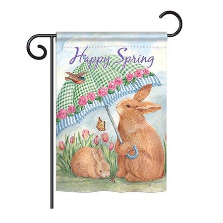 Breeze Decor - Bunnies With Umbrella Spring - Seasonal Easter Impressions Decorative Vertical Garden Flag 13