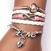 Mosunx Infinity Pearl Heart Lock Friendship Leather Charm Bracelet Alloy Cute