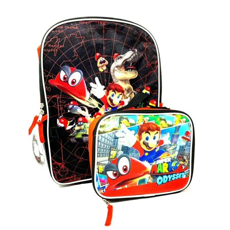 Supper Mario Odyssey School Backpack Lunch Box Combo Set Green Kids