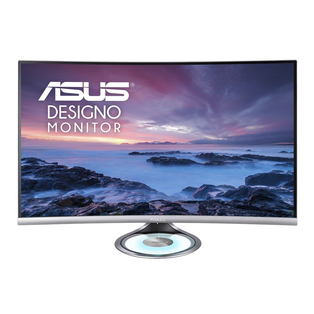 ASUS Designo Curve MX32VQ Curved Monitor - 32 inch, WQHD, 1800R Curvature, Frameless, Halo Lighting Base, Audio by Harman Kardon, Flicker Free, Blue Light Filter