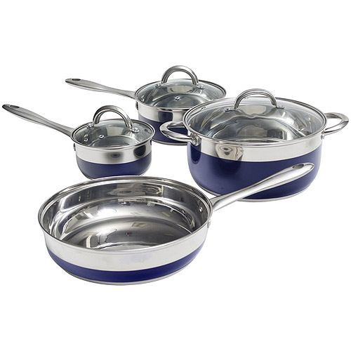 Oster Merton 7-Piece Cookware Set, Blue Enamel
