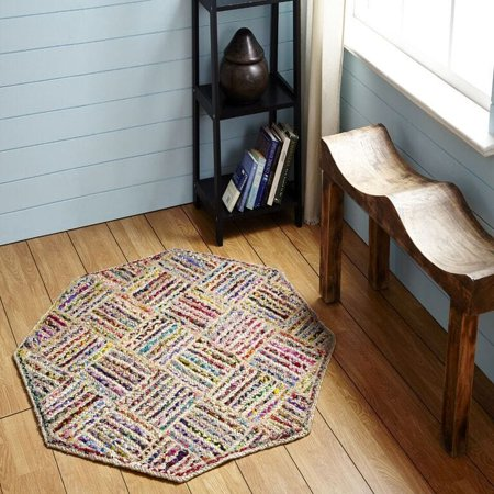 - Better Trends Multi-color Criss Cross Octogonal Rug by  (5' x 5') - multi