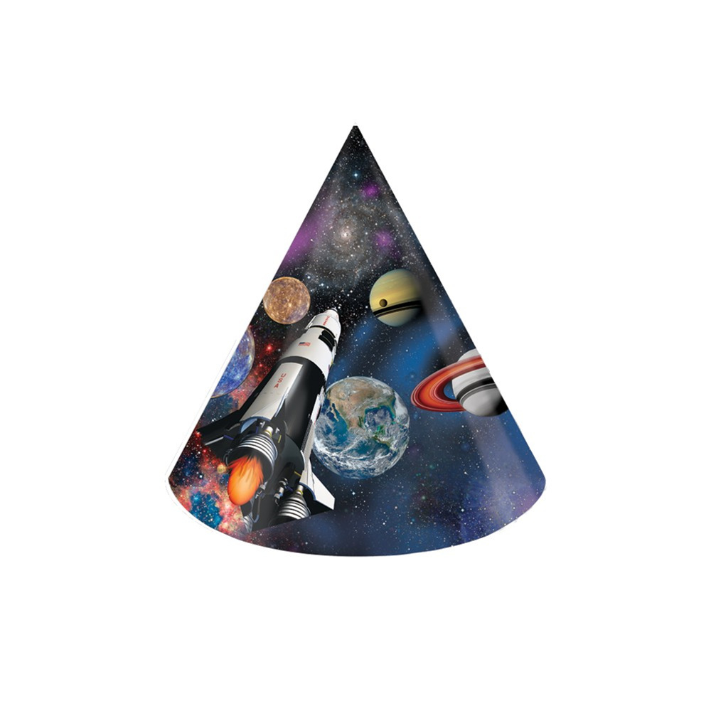 """Space Blast 4 1/4"""" Dia. x 6""""T Child Size Paper Party Hats/Case of 48"""