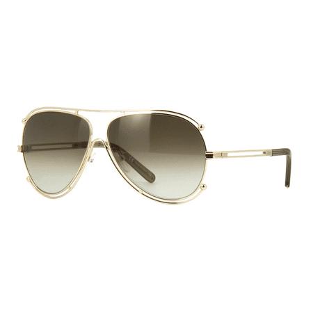 Chloé CE121S 743 Sunglasses Gold Frame Brown Grey Gradient Lenses 61mm - Frame Brown Gray Gradient Lenses
