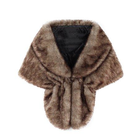 d19699a484 Faux Fur Shawl Wrap Stole Shrug Winter Bridal Wedding Cover Up - Walmart.com