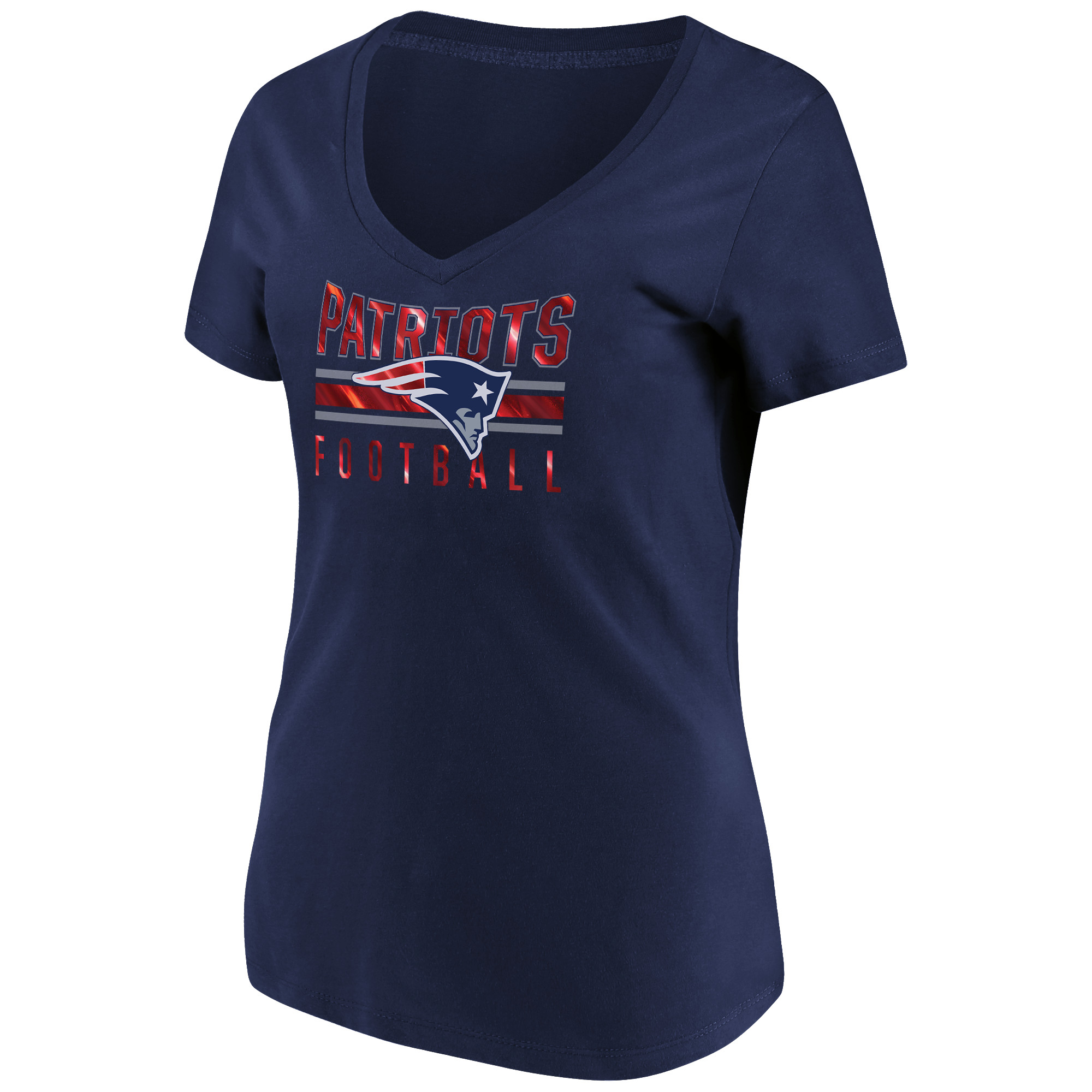 Women's Majestic Navy New England Patriots Game Day Style V-Neck T-Shirt