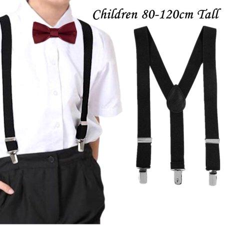 Black Kids Snowboard Binding (Child Braces Suspenders Black 25mm Y Back Heavy Duty Biker Snowboard Trousers )