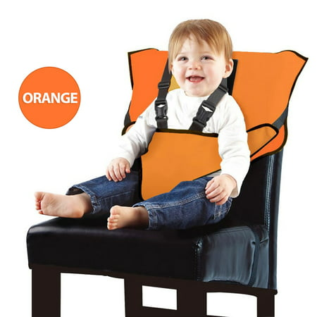 Baby High Chair Harness Travel High Chair for Baby Toddler Feeding Eating Portable Easy Seat Travel High Chair with Adjustable Straps Shoulder Belt Baby Camping/Beach/Feeding/Sitting Up Chair-Orange (Baby High Chair Belt)