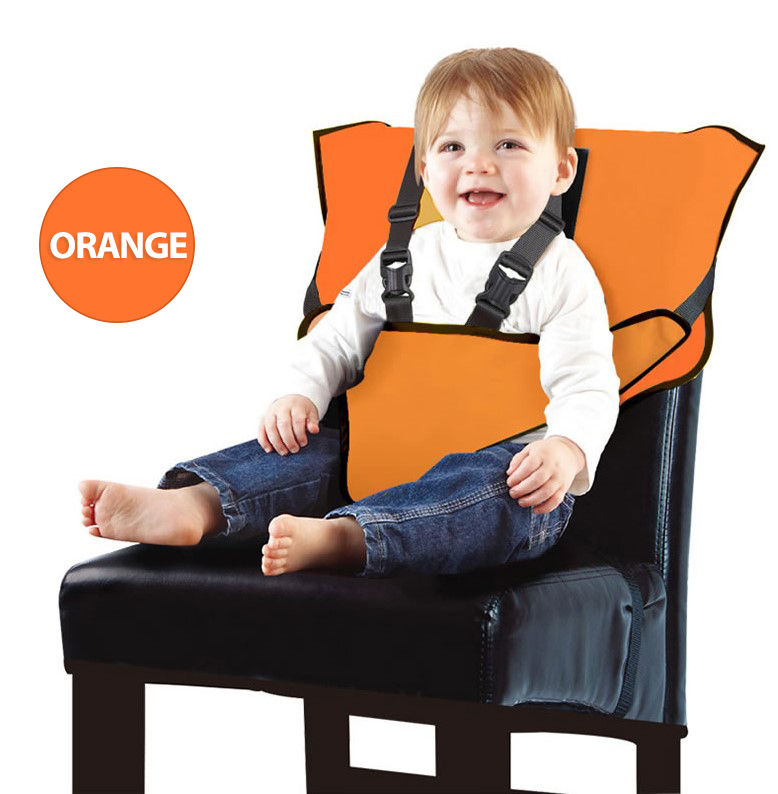 Baby High Chair Harness Travel High Chair for Baby Toddler Feeding Eating Portable Easy Seat Travel High Chair with Adjustable Straps Shoulder Belt Baby Camping/Beach/Feeding/Sitting Up Chair-Orange