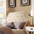 Curtis Ii Arched Bridge Nailhead Top Cream White Headboard