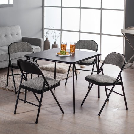 Meco Sudden Comfort Deluxe Double Padded Chair and Back 5-Piece Card Table Set - Courtyard Black ()