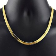 14k Gold Flat Herringbone Chain Necklace