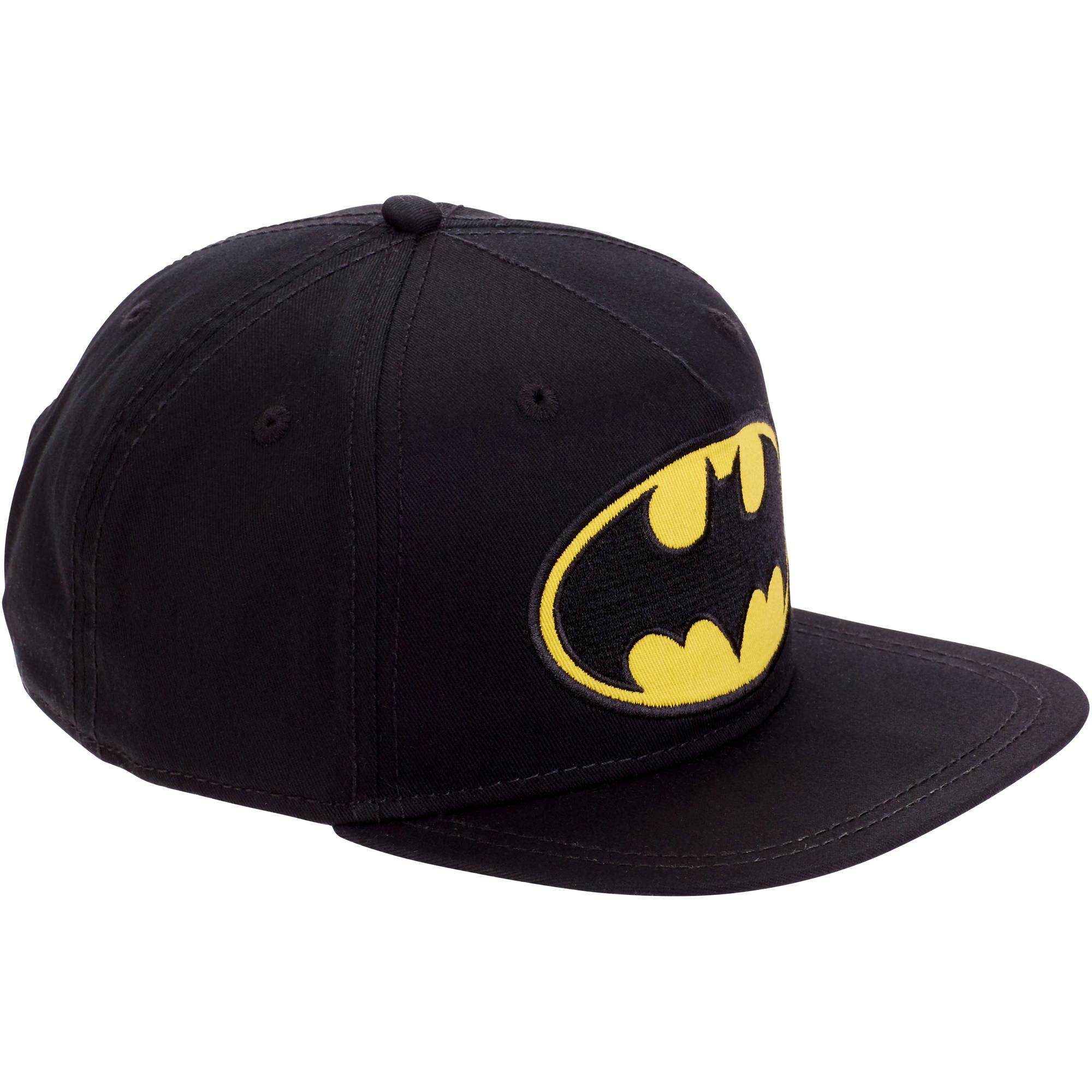 Boy's Black Flat Bill Hat with Batman Emblem