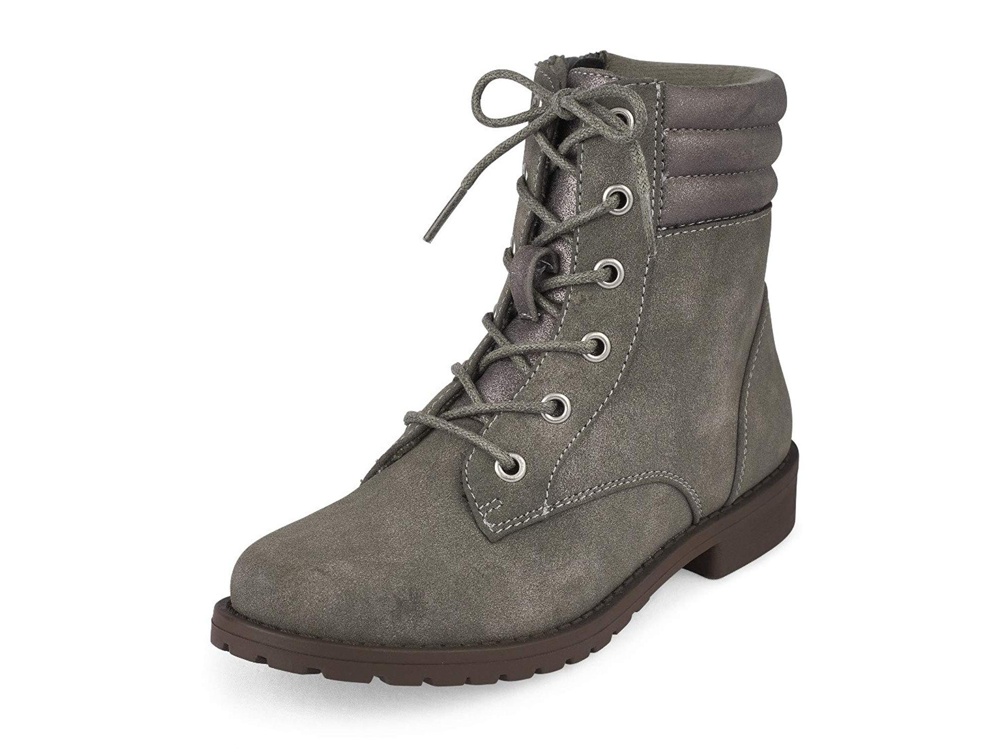 fashion combat boots, grey, youth
