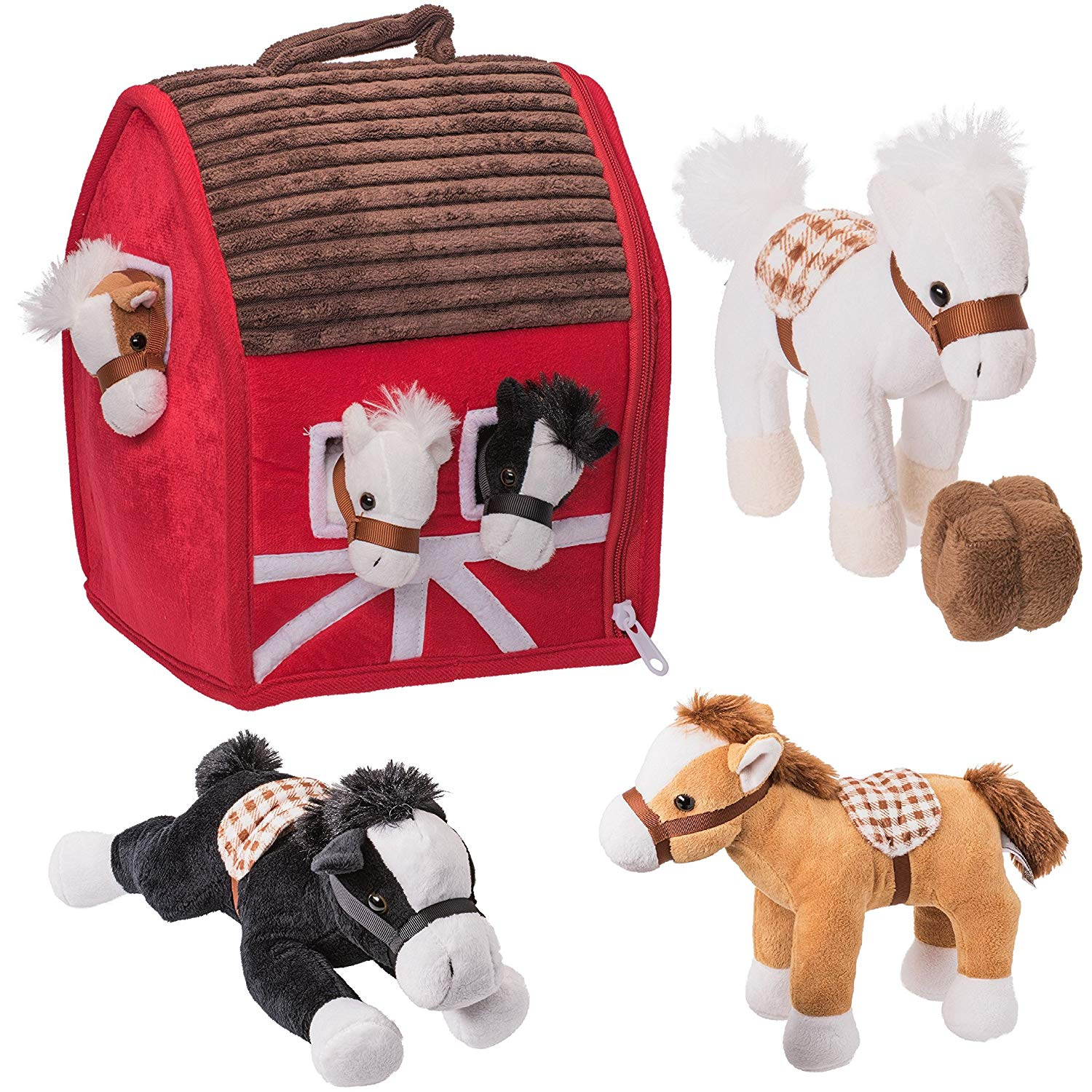 "Prextex Plush Farm House with Soft and Cuddly 5"" Plush Horses, Farm Boy, and Farm House Barn House Carry... by Prextex"