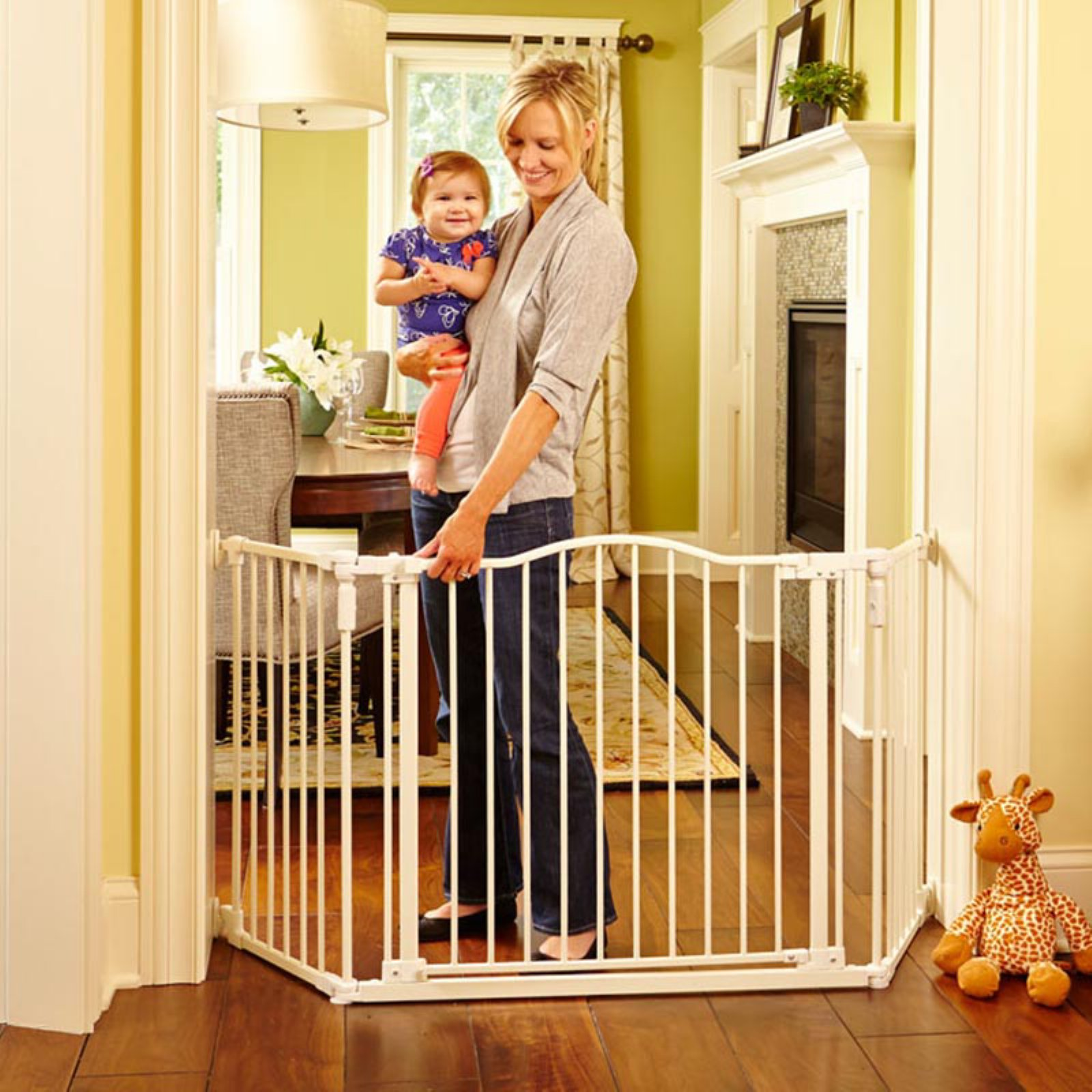 North States Deluxe Decor Baby / Pet Metal Gate - Linen 38-72 Inches Wide| 4954S
