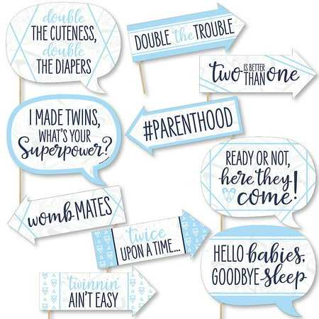 Boy Twins Photo (Funny It's Twin Boys - Blue Twins Baby Shower Photo Booth Props Kit - 10)