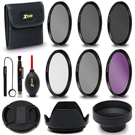 Xtech 55mm PRO Lens Accessories Kit w/ 55mm 3 Piece Filter Kit (UV FLD CPL) + 55mm ND Filters + Lens Hoods f/ 55mm Cameras & Lenses including Sony Alpha A9, A7R II, A7 II, A7 A7R A7S A6500 A77 A99 (Nd Filter Kit)