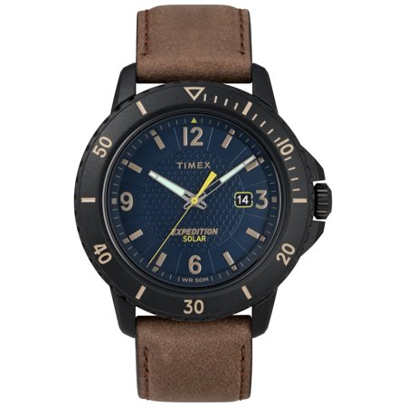Timex Men's Expedition Gallatin Solar Brown/Black/Blue Watch, Leather Strap