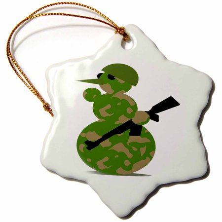 Spinning Snowflake Snowman (3dRose Image of Cute Army Snowman With Rifle - Snowflake Ornament,)
