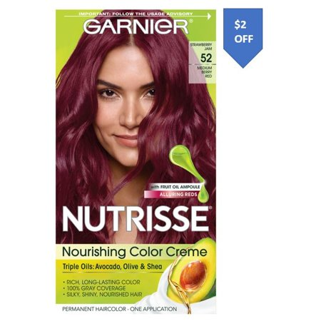 Garnier Nutrisse Nourishing Hair Color Creme with Triple Oils, Strawberry Jam 52, Medium Berry Red, 1