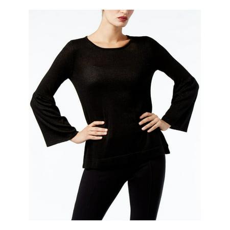 CALVIN KLEIN Womens Black Bell Sleeve Scoop Neck Sweater  Size: XS Scoop Neck Sweater Vest