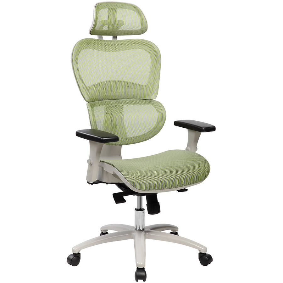 Techni Mobili High Back Mesh Executive Office Chair with Neck Support, Green (RTA-5004)