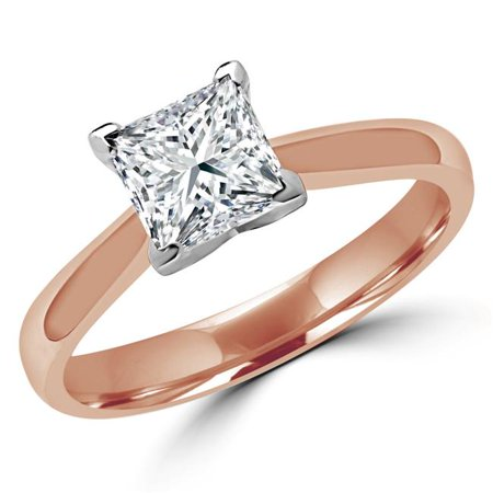 Majesty Diamonds MD180007-5.75 0.3 CT Princess Diamond Solitaire Engagement Ring in 14K Rose Gold - Size 5.75